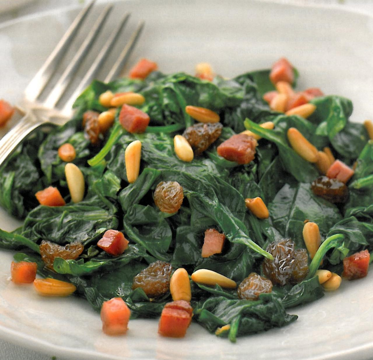 Spinach with Raisins and Pine Nuts