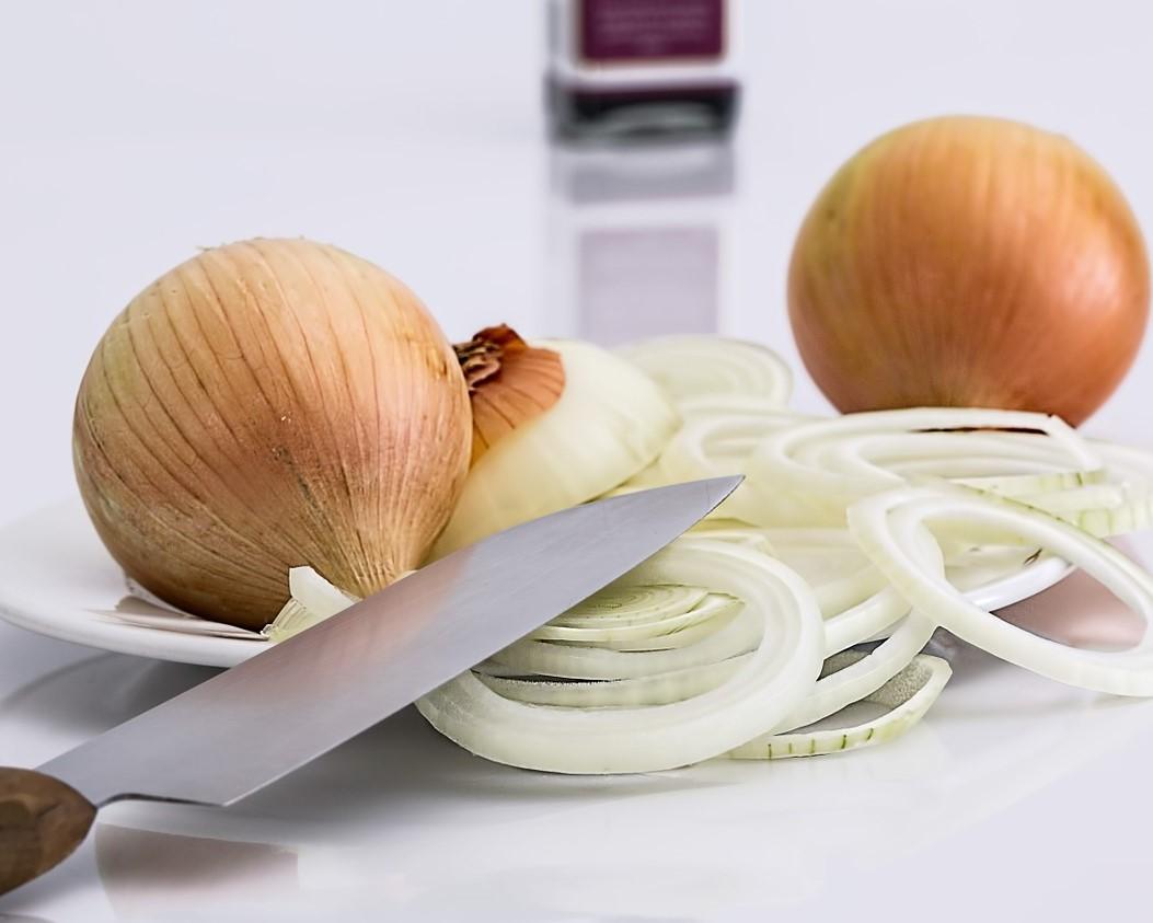 Bonito a la plancha con aros de cebolla