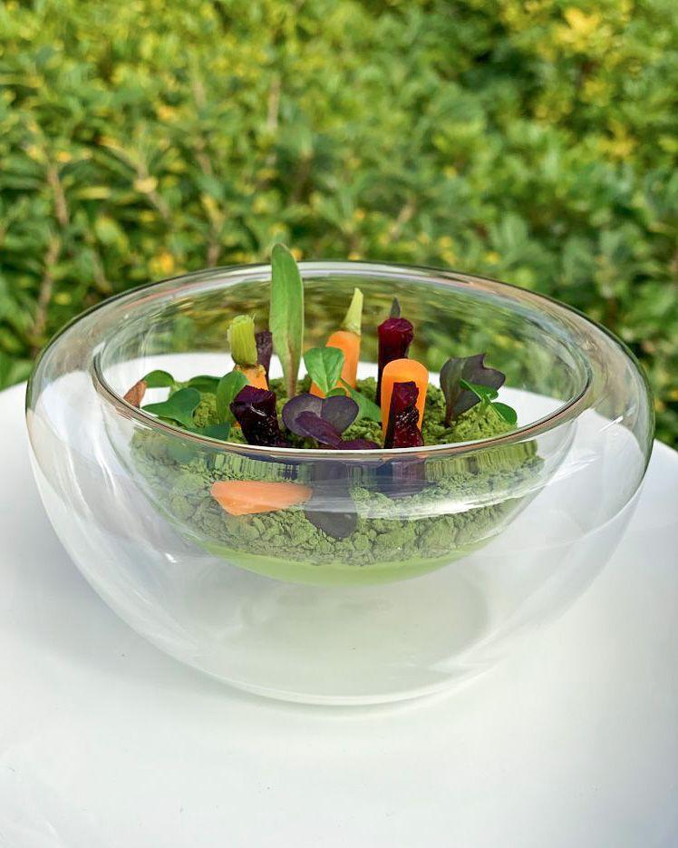 Nuestro huerto de verduras con humus de habas y pistachos en texturas